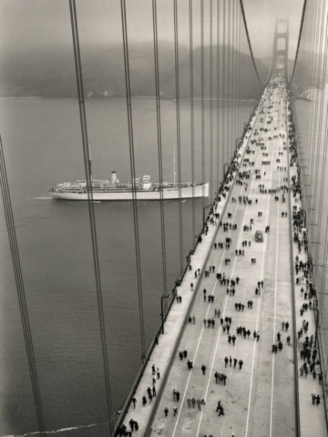 A photo of The Golden Gate Bridge's opening day; May 27, 1937