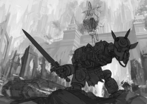 A little more progress to the 40k piece I am doing now. Gonna add more chaos and details as I progress