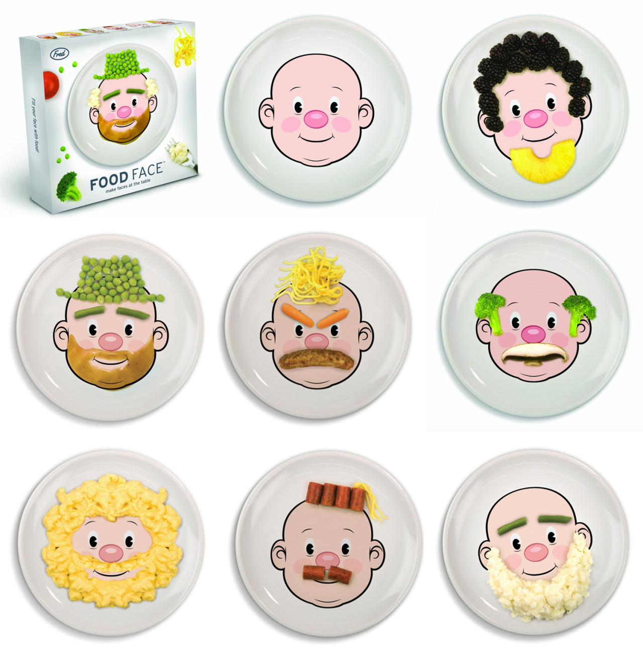 whodesignedit:  Food Face Boy Plate by Fred and Friends Have your parents ever told you not to play with your food? Well, throw that out the window when you get this food face boy plate from Fred and Friends. Kids and adults will love making faces with this awesome plate! You can get this playful plate at Amazon!