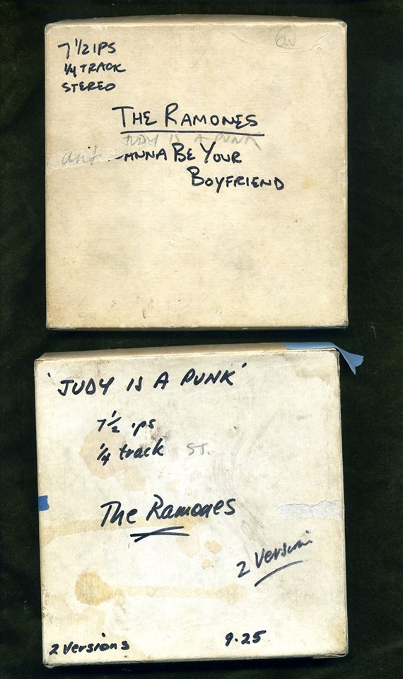 "theramones:  The original 5"" master tapes for the demos that the Ramones did with Marty Thau, 1975"
