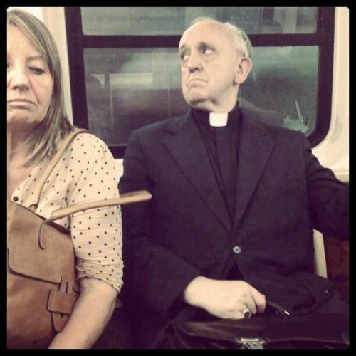 lutheranroseandheart:  Pope Francis riding the bus.  Such a humble man!