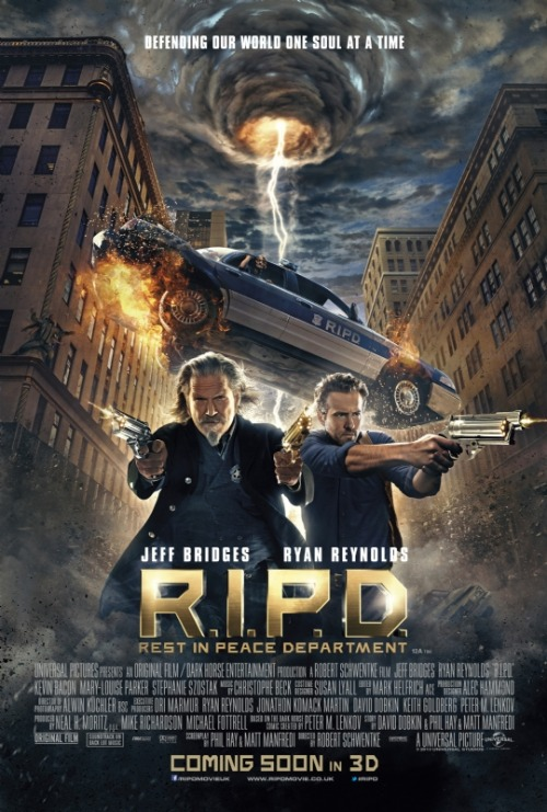 "populationgo:  ""R.I.P.D."" Gets A New Poster Universal Studios' upcoming adaptation of Peter M. Lenkov's graphic novel, R.I.P.D., has gotten a brand new poster.  The poster highlights the film's two leads in Jeff Bridges and Ryan Reynolds front and center with a vortex of chaos in the background and the tagline ""Defending Our World One Soul at a Time"" placed up top.  The story centers around recently killed cop Nick Walker (Ryan Reynolds), who is immediately recruited into the Rest In Peace Department and paired with veteran lawman Roy Pulsipher (Jeff Bridges). Together they make sure that the souls of the dead go to their proper resting places and don't interfere with the living world. R.I.P.D opens up July 18th and also stars Kevin Bacon, Mary-Louise Parker, James Hong, Marisa Miller, Stephanie Szostak and Robert Knepper. [Empire] —— Featured:  Top 5 TV Asian Girl Crushes Friend Us: Facebook and Twitter"