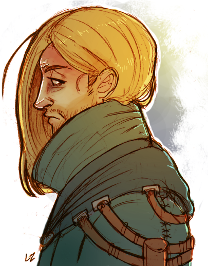 spicyshimmy:  lambylingames:  Aaaand then long-haired-fugitive!Anders for those who wanted more. When I take another stab at his design I'm thinking about keeping him with his cool colors.  We never saw each other again, Varric writes. The ink at the tip of his quill glistens. It's nothing like blood, thicker than water, saltier than a teardrop. It's bitter and it stains the desk below the vellum, leaving marks without having to strike them deep into stone.  And maybe that was for the best, Varric writes. He has to get it off his chest—dark letters like dark circles under dark eyes. The same shadows in the crook of a y's curved tail as there were in the hollows of Anders's cheeks that night they said their goodbyes.  To remember Blondie the way I thought I needed to, Varric writes. With all the familiar bits and pieces. A little hole in one ear; a wink at a golden earring like an inside joke. And the hairstyle, which I always figured made us Lowtown-chic. Two lost nugs on the highway of life.  Was there justice in it? Well, the same amount of justice there was in all of us, I suppose. Some of us trying to make things right; one or two of us just trying to make things at all. The rest of us just trying, Maker be damned, tossed on desire like a sinking ship—one with the mast split and splintered by blackpowder from a Qunari dreadnought. Because we were all relics, you know? Stolen. Displaced. None of us belonged in that city. The similarities we found…might've been like grasping at straws, last straws, and trying to spin them into gold. Searching for a reflection in a broken mirror. You catch what I did there?  Now you see it; now you don't. And they say dwarves can't make with the magic. We never saw each other again, Varric writes. But I think I know how he got old. How he shed those feathers. How we all grew up and got smart and stopped thinking we could fly. How his hair got long, and I wasn't there to chuckle, to stoke the fire, to say: 'Hey, Blondie—at least now it matches your nose.'