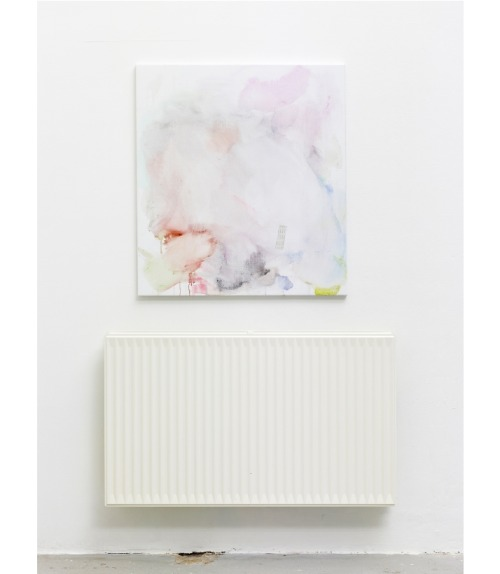 theholydeer:  Torben Ribe: Untitled, 2012 Acrylic thinned with Red Bull on canvas, paper, heater