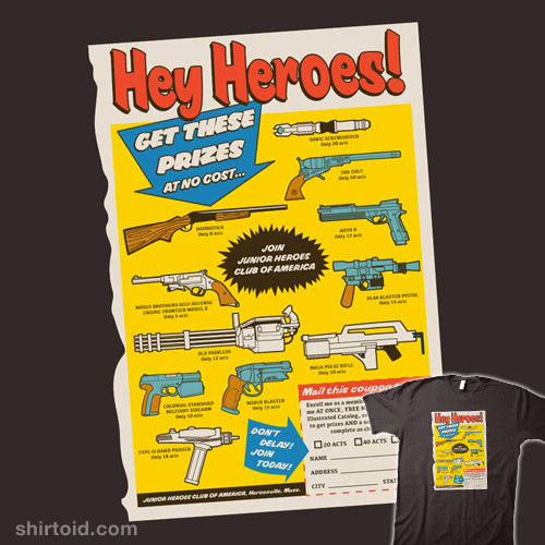 shirtoid:  Heroes Prize by Nik Holmes is available at Redbubble