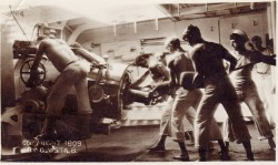 "ex-frat-man:  Postcard is a black and white photo of sailors loading a cannon. Text at bottom left: ""Copyright 1909 by G.W. Stilb.""  http://beck.library.emory.edu/greatwar/postcards/emory:b36ns"