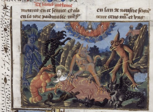 discardingimages:  Saint Anthony and the lobster devil Jacobus de Voragine, La Légende Dorée (Legenda aurea), France 1470. British Library, Yates Thompson 49 vol. 1, fol. 34v  There is so much oddness going on in this picture, I don't know where to begin. The two hairy creatures on the left are sporting some very strange genitalia: the black one's is a tail and the blue one's is a tongue hanging from a happy face on his stomach. It would be interesting to know what this image represents.