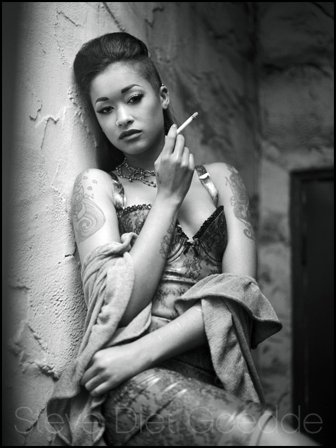 Skin Diamond, Los Angeles 2012 - Taken during an actual smoke break while doing our shoot, hence the draped robe. Latex dress by Atsuko Kudo. Photographed with the Mamiya 645 with Tmax 400 film. On behalf of all image creators, please respect copyright. Thanks!  Skin Diamond Tumblr • Atsuko Kudo