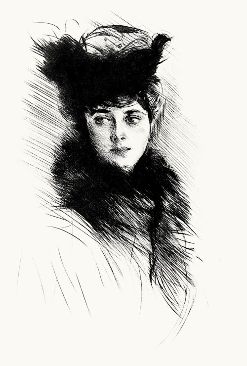 Portrait study of madame Chéruit.  Paul Helleu, from Paul Helleu, peintre et graveur (Paul Helleu, painter and engraver), by Robert de Montesquiou, Paris 1913.  (Source: archive.org)