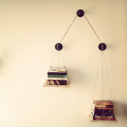 Fiction on one side, non-fiction on the other? Balance Bookshelf by cushdesignstudio.