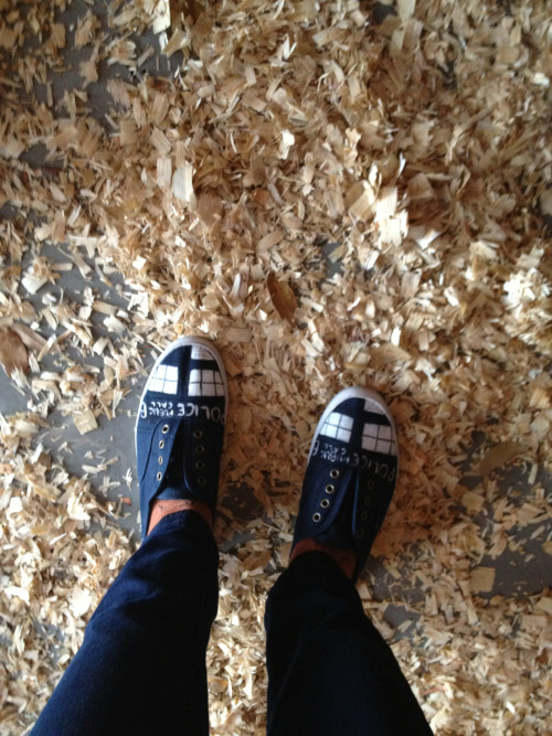 TARDIS shoes and sawdust. BBC America!
