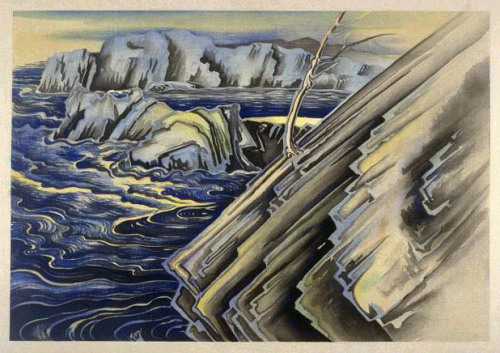 flasd:  Moonlight, Point Lobos, Monterey, California by Chiura Obata, 1930 (published by Takamizawa)