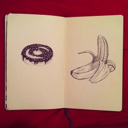 Food #sketchbook #ink #micron #moleskine #donuts #bananas #drawing #illustration