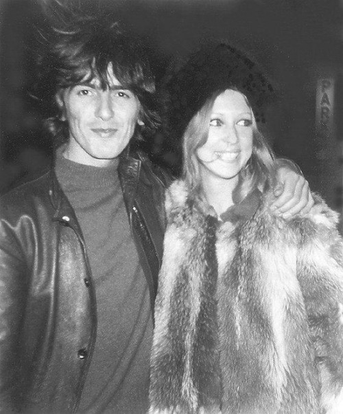 "New York City Late November 1968 - A rare photo of George and Pattie on a New York street near Thanksgiving shortly before they returned home to England after their extended U.S. visit. George in black leather and Pattie keeping warm in a black fur hat with a shaggy fur coat on the cold windy fall evening. Official Beatles Fan Club member Kathy Dakis took the photo and sent it to London - where George and Pattie flipped over it. The fan club offered 8X10"" copies of the photo to members for 50 cents each. Source of scan is the Something About Pattie Boyd group at Yahoo!"