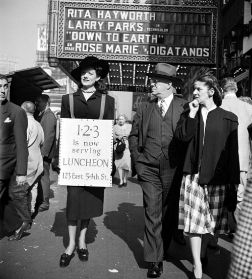 denise-puchol:  Sandwich Board Advertising Kubrick 1947
