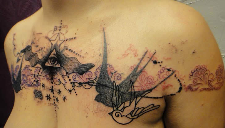 yagazieemezi:  French artist Xoil has a characteristic tattooing style that looks like he has stamped, stenciled, or drawn directly with a felt-tip pen on his clients' bodies.