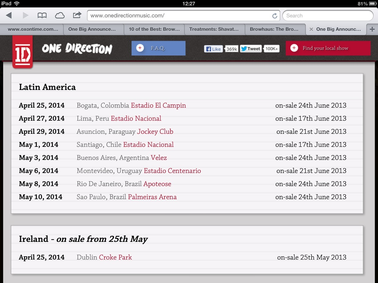 How are One Direction going to be in Dublin AND Colombia on April 25, 2013