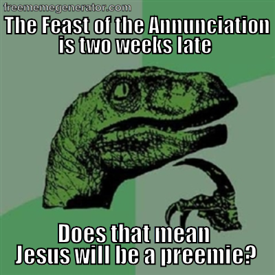 "The Feast of the Annunciation is normally celebrated on March 25th (9 Months before Jesus' birthday) but the celebrations of Holy Week and The Octave of Easter take precedence, so we celebrate it today, the first available opportunity. What a beautiful set-up this year: We just celebrated Jesus' passion, death and resurrection and now we begin the cycle again by celebrating Mary's ""YES"" and His conception the day after Divine Mercy Sunday. I love the Catholic Church!"