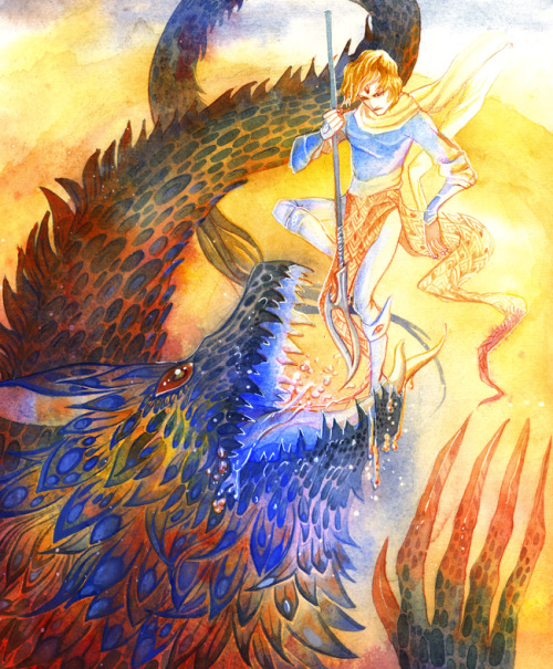 bluealaris:  Atlas fighting the Lizzard, watercolor on Hot Press paper.  Christmas present for me! <333 I've been watching the painting progress through step-by-step pictures and those made seeing the final outcome even more exciting (next best thing when I can't be there to see you paint). It's gorgeous, Viva! ;o; Golden fight, which Atlas won't win, but at least he won't be eaten. Just maybe chewed a little and then patched together.