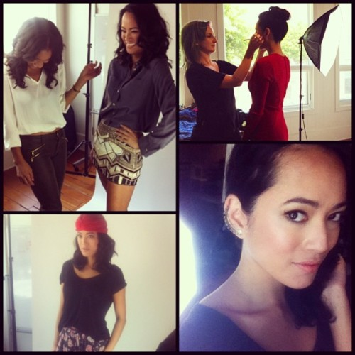 #bts shoot today with @tradesy! @lambpants MU&hair @stellasimona photo @hellotoshiko stylist #staytuned #celebclosets #model #fashion #itsmorefunworkingwithfriends cc: @green_roots