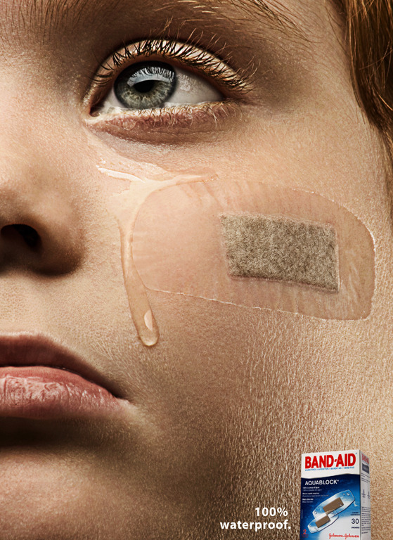 "Band-Aid Waterproof Ad ""100% waterproof."" Art Direction: Rodrigo Adam"