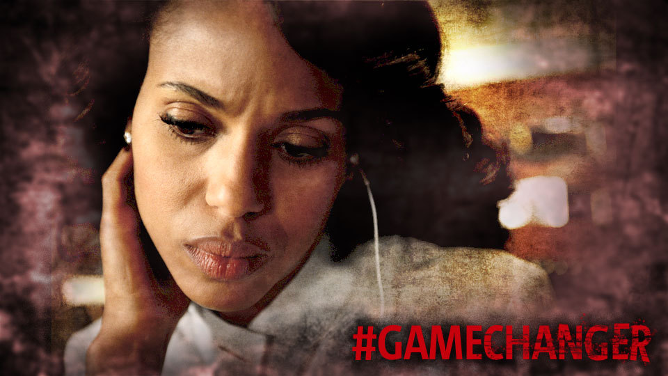 New #Scandal #GameChanger promo featuring Olivia Pope. Observations: Olivia has a wire in her ear. (Huck told her to listen in on Spy Radio???) She's wearing 1/3 of her Gladiator Armor. Speak on it, Gladiators.