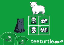 It's Codominance: Pandas edition- We've remixed a TeeTurtle classic, and it's on sale now as our new design of the week for just $15!! Plus, get 4 of our favorite science themed designs on sale this week as well!Only at http://www.teeturtle.com/