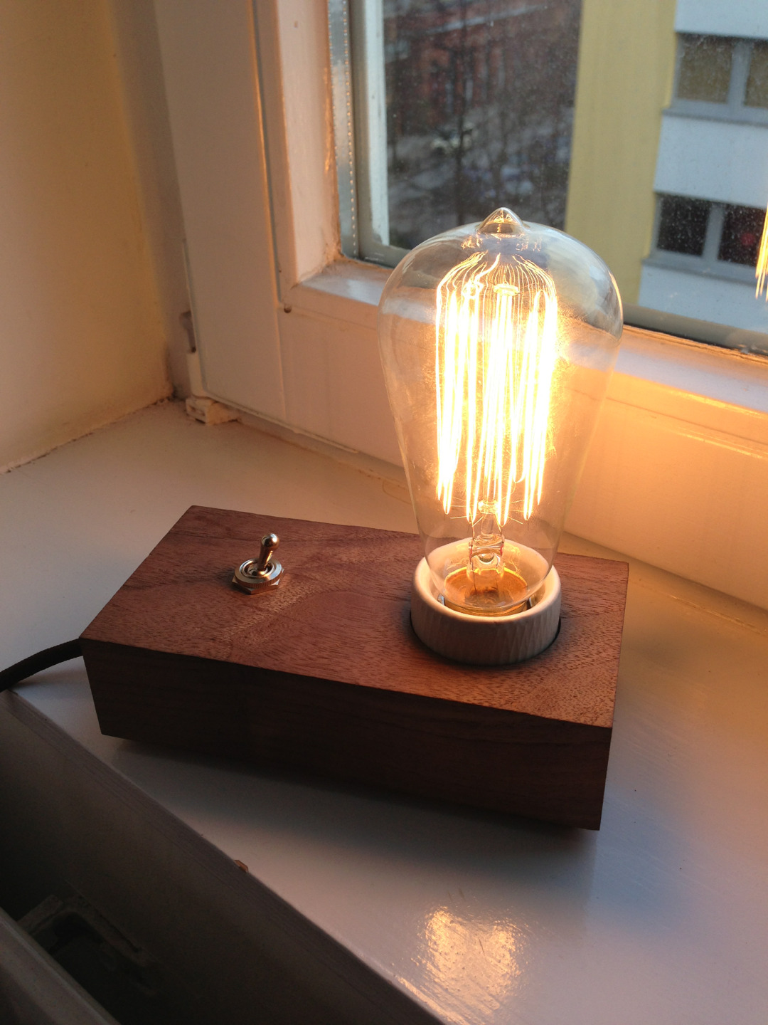 I built a lamp from a block of nice wood.  Here's a video: http://vine.co/v/b1K1LqqBAYD