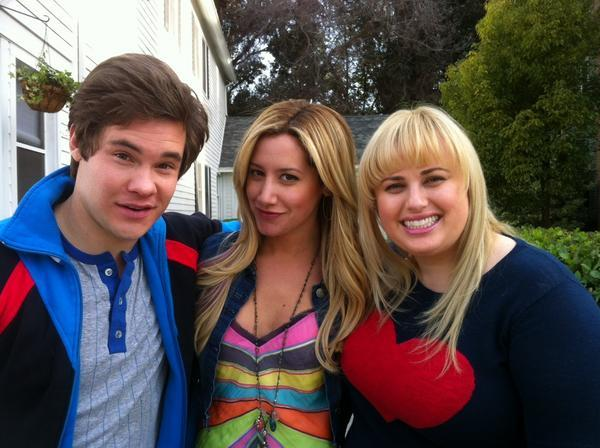 Ashley Tisdale - Having a musical movie reunion on Super Fun Night this morning with @ADAMDEVINE and