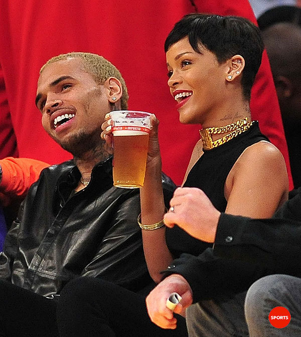 Chris Brown and Rihanna courtside at the Lakers NBAXmas game. (Photo by Gary A. Vasquez, USA TODAY Sports)