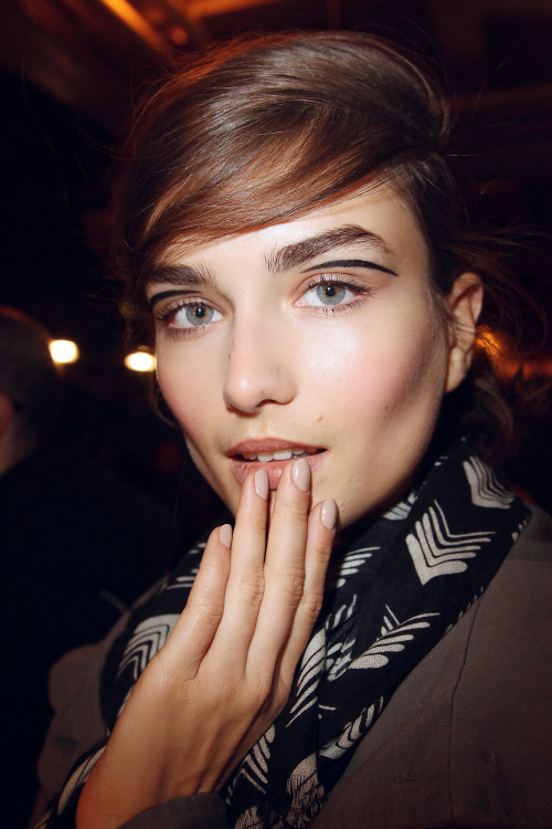 stylerumor:  Andreea Diaconu backstage at Rag & Bone Fall 2013