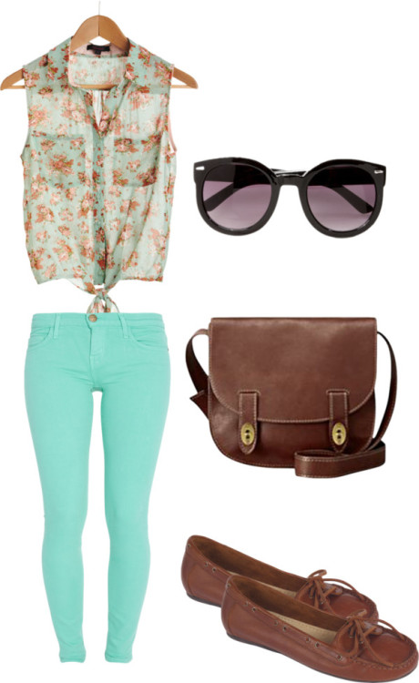 Colored jeans by rebekkab featuring fossil handbags