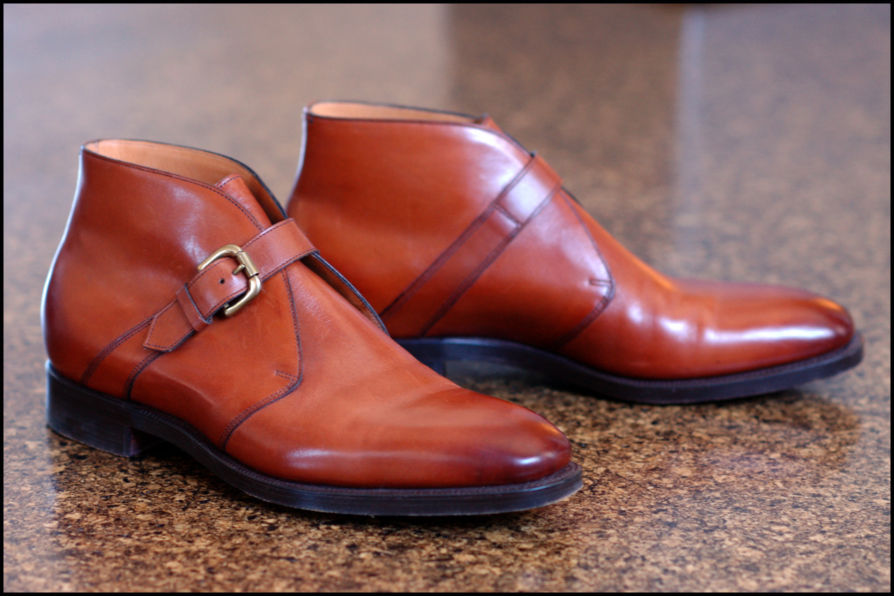 "Hey, Dieworkwear. Single-strap chukkas (a.k.a. ""George"" boot or ""Hilo"" boot.)  Edward Green for Ralph Lauren Purple Label, 89 last."