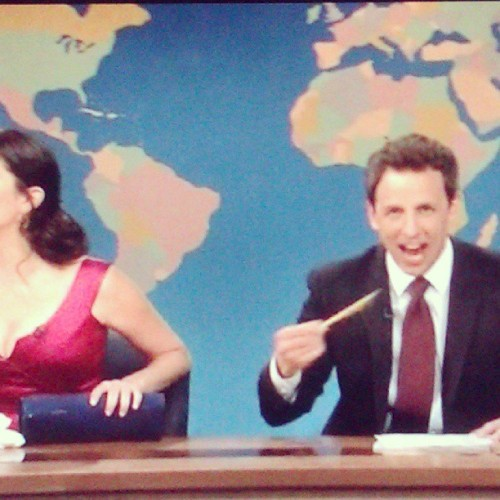 Drunk girl you wished you hadn't spoken to at the party. #SNL #WeekendUpdate #SethMeyers