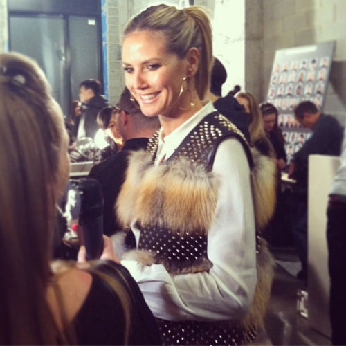The gorgeous Heidi Klum backstage at Kenneth Cole. Photographed by Lauren Drago