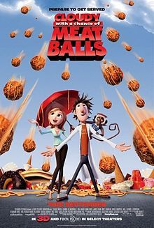 Cloudy with a chance of meatballs is a children's film. The categories of genres that this film has been put into is Animation, Comedy and family. This film fits in with the genre animations because the production of this film is a collection of a rapid display illustrations creating movement therefor creating animation movie.  Comedy also fits in because the film is very humorous due to the physical comedy used and also the character comedy. Sam sparks the main character has a comical personality with the things he does and also the things he says, so this fits in perfectly with character comedy. Sam's character can also be stereotyped as a 'nutty' scientist because he is a bit quirky and strange.  physical comedy is also used because of the accidents different characters have within the film.   Sub genres  Si-fi is a sub genre that can also be linked to this film because of the science level that is a key part of the film. Sam Sparks is a scientist that creates a weather controller that produces food. This unrealistic part of the film makes it totally linked to Si-fi.  Romance is also a part of the film because Sam falls in love with a weather who is also stereotyped to be a 'dumb blonde' but in actual fact she slowly revels her true personality and turns out to be an extremely  intelligent scientist.