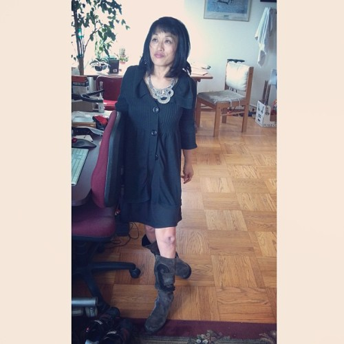 Sweater: gifted by Leah Onomatopoeia. Dress: thrifted Lux. Boots: Camper. Necklace: eBay. Tank: Wet Seal.  #afashionablecondition #LeahOnomatopoeia #ootd #igersSF #megaclaudia #fashion #disability #disabled #boots