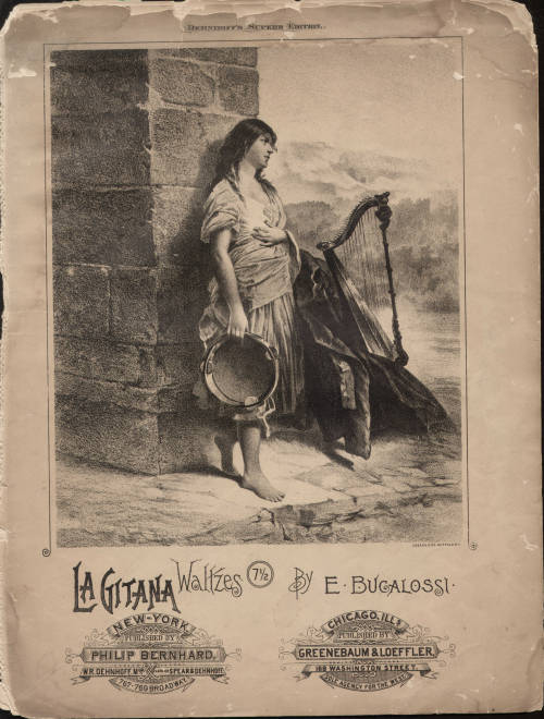 "Sheet music cover for ""La Gitana Waltzes"" by E. Bugalossi, circa 1880"
