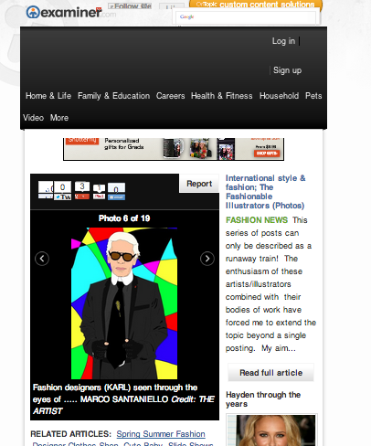 my Karl Lagerfeld pop portrait on EXAMINER.COM in these selection of international fashion illustrators !  special thanks to the journalist Jeffrey Felner for including superstar MARCO SANTANIELLO!  http://www.examiner.com/slideshow/international-style-fashion-the-fashionable-illustrators#slide=61871681