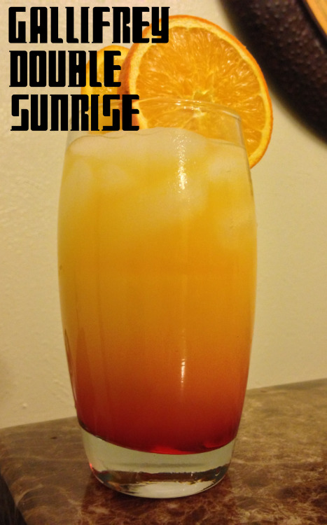 "thedrunkenmoogle:  Doctor Who Mocktails by EXPBarOnline Gallifrey Double Sunrise:Ingredients:1 oz Pineapple Juice1 oz Lime JuiceOrange JuiceGrenadine Directions: Fill a tall glass to the brim with ice and pour in the lime and pineapple juice. Fill with orange juice and stir gently. Gently pour grenadine inside the glass and let it sink to the bottom of the glass. Garnish with two oranges. Sip and watch Gallifrey's two beautiful suns rise.___   Regeneration Energy: Ingredients: 4 parts Sprite4 parts Red Bull 1 part Pineapple JuiceDirections: Pour all ingredients in a shaker with ice and shake gently. Strain into a tall glass with plenty of ice and serve. Brace yourself for the oncoming storm of regeneration.___  A note from the creators:   First up the Gallifrey Double Sunrise! A sweet and tart cocktail with a cherry kick to it that rounds it out very nicely. Second up Regeneration Energy! Sometimes you just need to sit back, recover and regain yourself. What better way to do that then with time lord energy? this has a very sweet and understated taste that will give you the energy to keep on going through waves of daleks.  ""There's a lot of things you need to get across this universe. Warp drive… wormhole refractors… You know the thing you need most of all? You need a hand to hold.""  -The 10th Doctor Drinks created and photographed by EXPBarOnline."