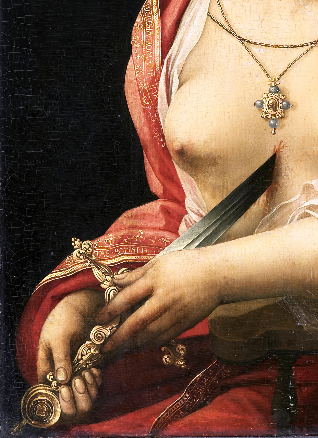 The Suicide of Lucretia (Detail) Meester met de Papegaai,1525. Rembrandt did it best, though.