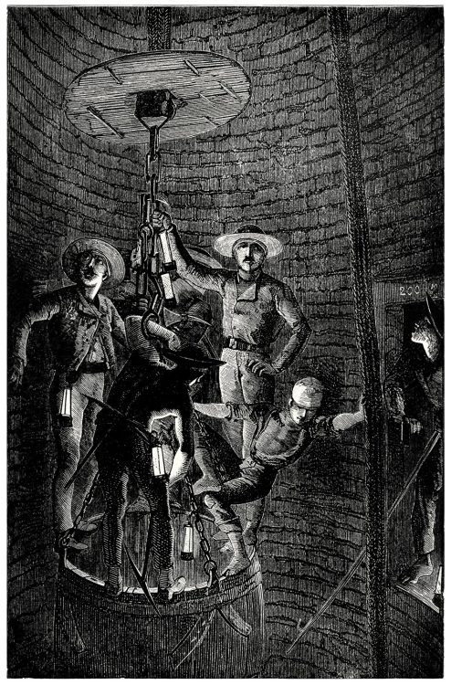 Miners descending a shaft.  From The underground world, by Thomas Wallace Knox, Hartford, 1877.  (Source: archive.org)