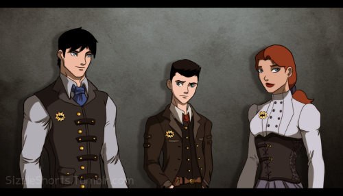 sizzleshorts:  YJI - Steampunk AU - Dick, Tim, and Babs ~~ Top of the social elite ladder during the day, vigilantes as night, with Tim constantly doing some tinkering on the side.  A couple of people requested the Batfam