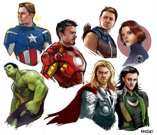 this-is-not-a-collection:  Avengers sketchdump by ~Kazeki