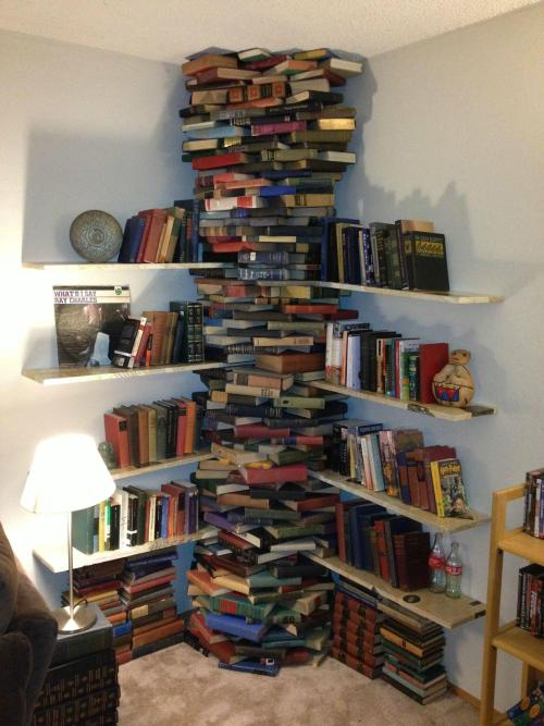 A bookshelf made out of books?? GENIUS MODE ACTIVATED.