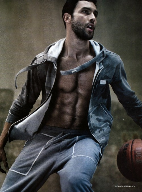 Noah Mills sweats for Men's Health, Italy, in Dolce & Gabbana