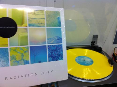 radiationcity:  Vinyl for Animals in the Median has arrived at last!  Available for purchase in stores on 5/21, but if you pre-order yours now, it'll ship 5/14.  Only 500 copies printed on yellow vinyl.