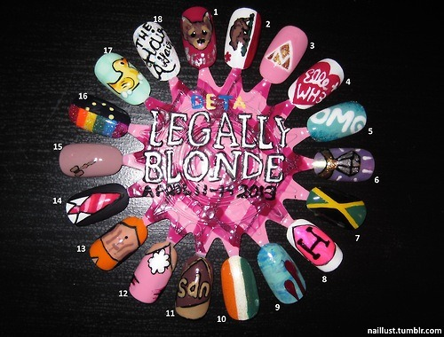 "congratulations to the cast of Legally Blonde: The Musical!  because I am too excited for my own good, i've spent the past week(?) painting this little friend of mine. enjoy~  1) ""Bruiser Woods"" OPI Koala Bear-y, Orly Liquid Vinyl, Orly Coffee Break, OPI Wooden Shoe Like to Know, OPI Pink Friday, Orly Dazzle  2) ""California"" OPI Alpine Snow, Orly Liquid Vinyl, China Glaze Ruby Pumps, OPI Jade is the New Black, OPI Wooden Shoe Like to Know, Orly Coffee Break  3) ""Delta Nu Nu Nu"" OPI Pink Friday, OPI Alpine Snow, OPI Goldeneye  4) ""5ever"" OPI Alpine Snow, OPI Koala Bear-y  5) ""Omigod"" Orly Gumdrop, Orly Halley's Comet, China Glaze Atlantis, OPI Alpine Snow  6) ""4K"" OPI Significant Other Color, Orly Liquid Vinyl, Orly Dazzle, OPI Gonldeneye, OPI Alpine Snow  7) ""Jamaican Me Crazy!!!!!"" OPI Jade is the New Black, OPI Need Sunglasses?, Orly Liquid Vinyl  8) ""Is that even legal?"" OPI Alpine Snow, China Glaze Pink Voltage, Orly Liquid Vinyl  9) ""The Thrill of the Kill"" China Glaze For Audrey, China Glaze Sky High-Top, OPI Gargantuan Green Grape, OPI Hey! Get In Lime!, Orly Gumdrop, OPI Malaga WIne  10) ""Ireland"" OPI Jade is the New Black, OPI Alpine Snow, China Glaze Papaya Punch, Essie As Gold as it Gets  11) ""Kyle"" Orly Liquid Vinyl, China Glaze Classic Camel, Orly Coffee Break, OPI Wooden Shoe Like to Know?   12) ""Gloria Steinem"" China Glaze Sunset Sail, OPI Pink Friday, OPI Koala Bear-y, OPI Alpine Snow  13) ""Nutcracker Butt"" China Glaze Sunset Sail, China Glaze Papaya Punch, Orly Coffee Break, Orly Liquid Vinyl  14) ""Subtext"" OPI Russian Navy (Matte), OPI Alpine Snow, OPI Koala Bear-y, OPI Pink Friday, OPI Miami Beet  15) ""Classy Lawyer Pink"" Essie Lady Like, Orly Liquid Vinyl, OPI Coffee Break, OPI Goldeneye  16) ""There! Right! There!"" OPI Malaga Wine, Orly Orange Punch, OPI Need Sunglasses?, OPI Jade is the New Black, China Glaze Sky High-Top, Sinful Colors Dream On, OPI Russian Navy (Matte), China Glaze Lemon Fizz  17) ""I Was In The Shower…"" OPI Alpine Snow, Orly Gumdrop, OPI Gargantuan Green Grape, China Glaze Lemon Fizz, OPI Need Sunglasses? Orly Orange Punch, China Glaze Papaya Punch, Orly Liquid Vinyl  18) ""The Hair Affair"" OPI Alpine Snow, China Glaze Luxe and Lush, Orly Liquid Vinyl"