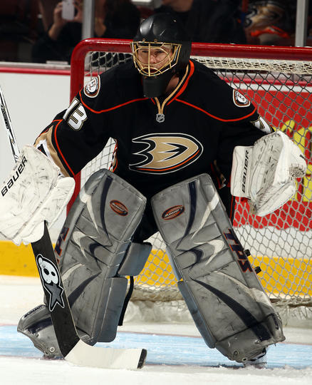 ANAHEIM, CA - APRIL 5: Goaltender Rob Laurie #43 of the Anaheim Ducks warms up before the game against the Dallas Stars on April 5, 2013 at Honda Center in Anaheim, California. Laurie signed a one-day professional tryout with the Anaheim Ducks due to Jonas Hiller #1 being out tonight due to illness. Igor Bobkov was recalled under emergency conditions from the Norfolk Admirals and was expected to arrive shortly.