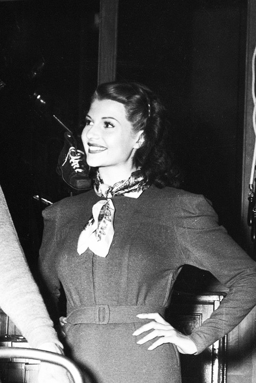 Rita Hayworth on the set of The Lady in Question (1940)